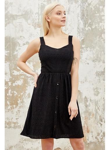 Reyon  Kadın Astarlı Mini Elbise Beyaz Siyah